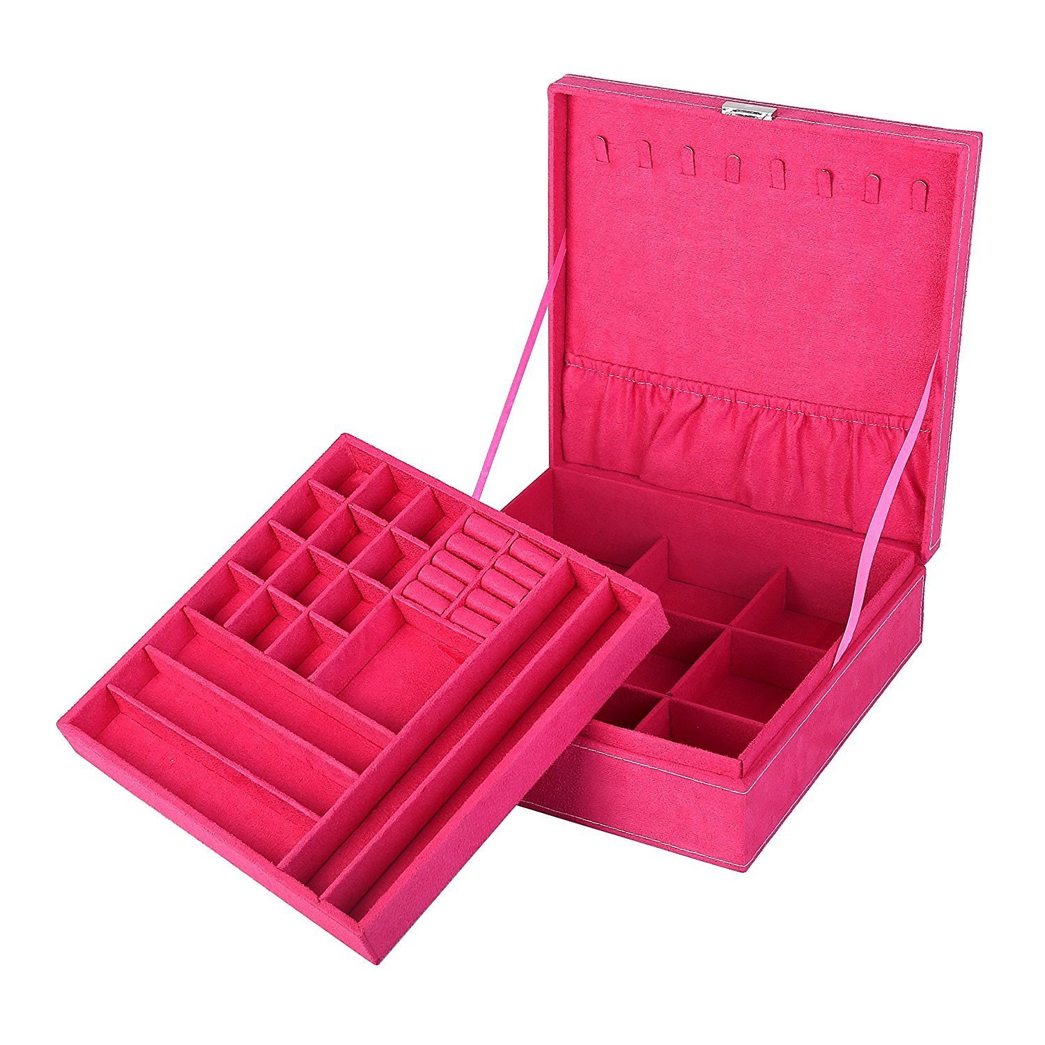 KLOUD City two-layer lint jewelry box organizer display storage case with lock-Hot Pink