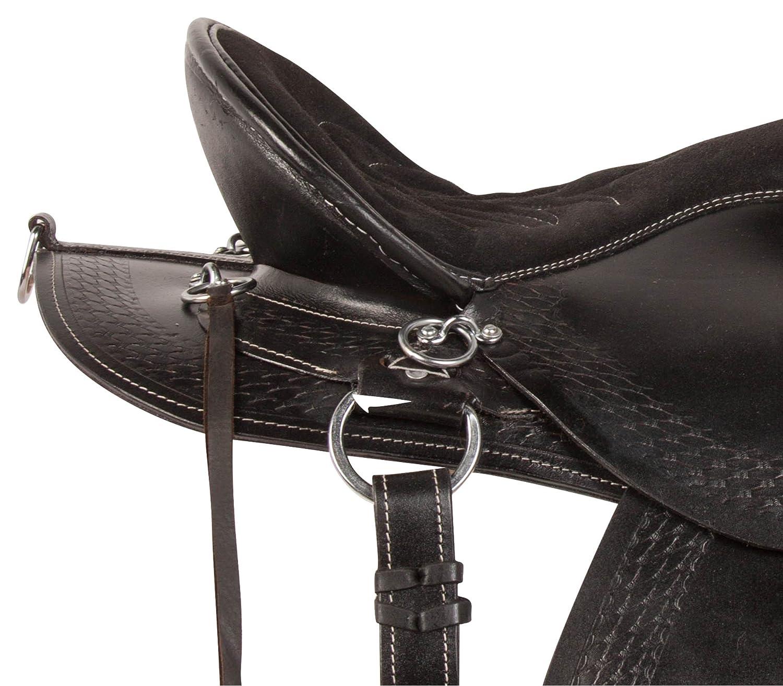 AceRugs Black Horse Saddle Western Endurance Riding Pleasure Trail Comfy SEAT Premium Leather TACK Set Full Quarter Bars