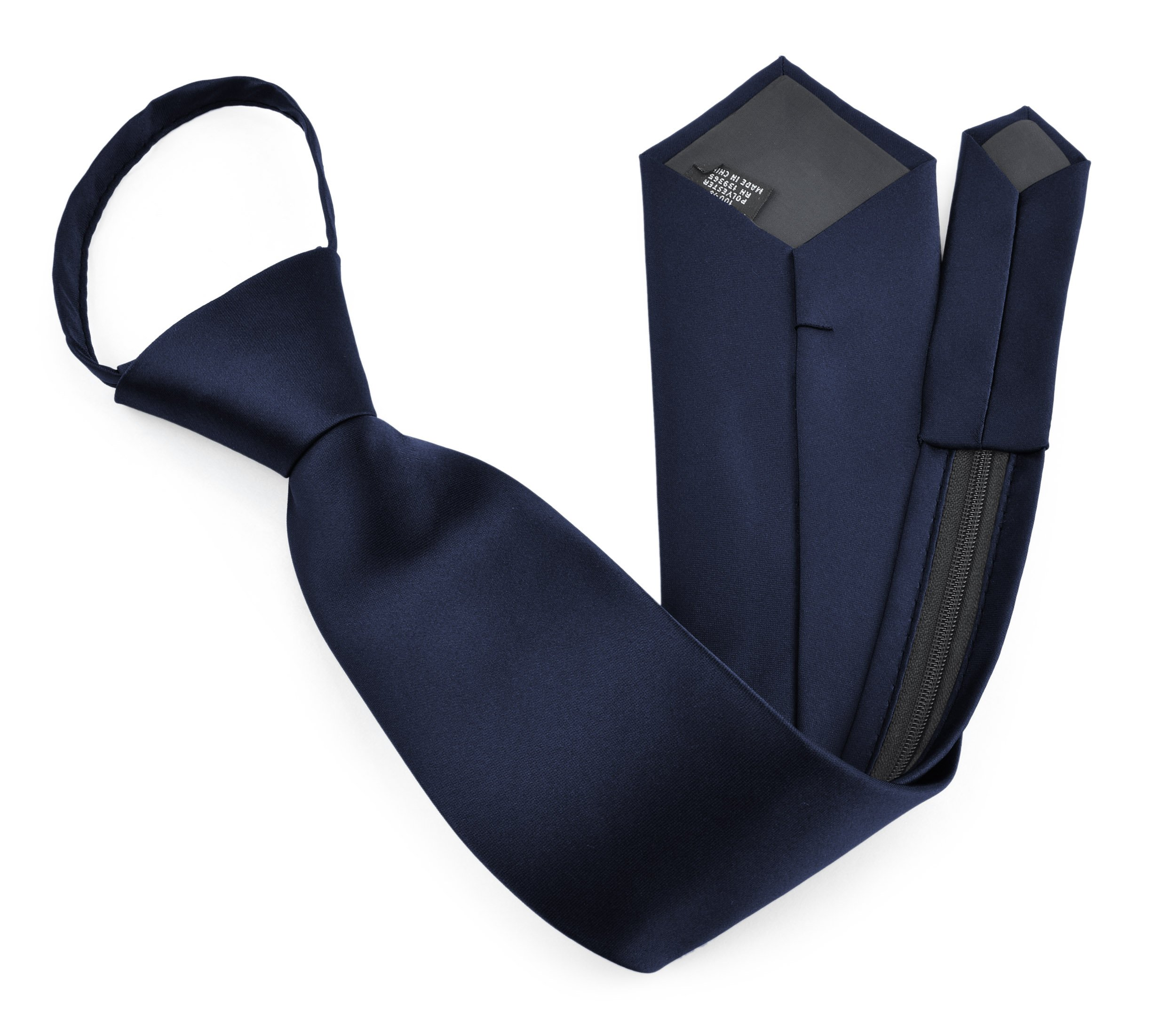 Moda Di Raza - Men's/Boy's Zipper Tie Neckwear Polyester -Navy Blue/17 IN