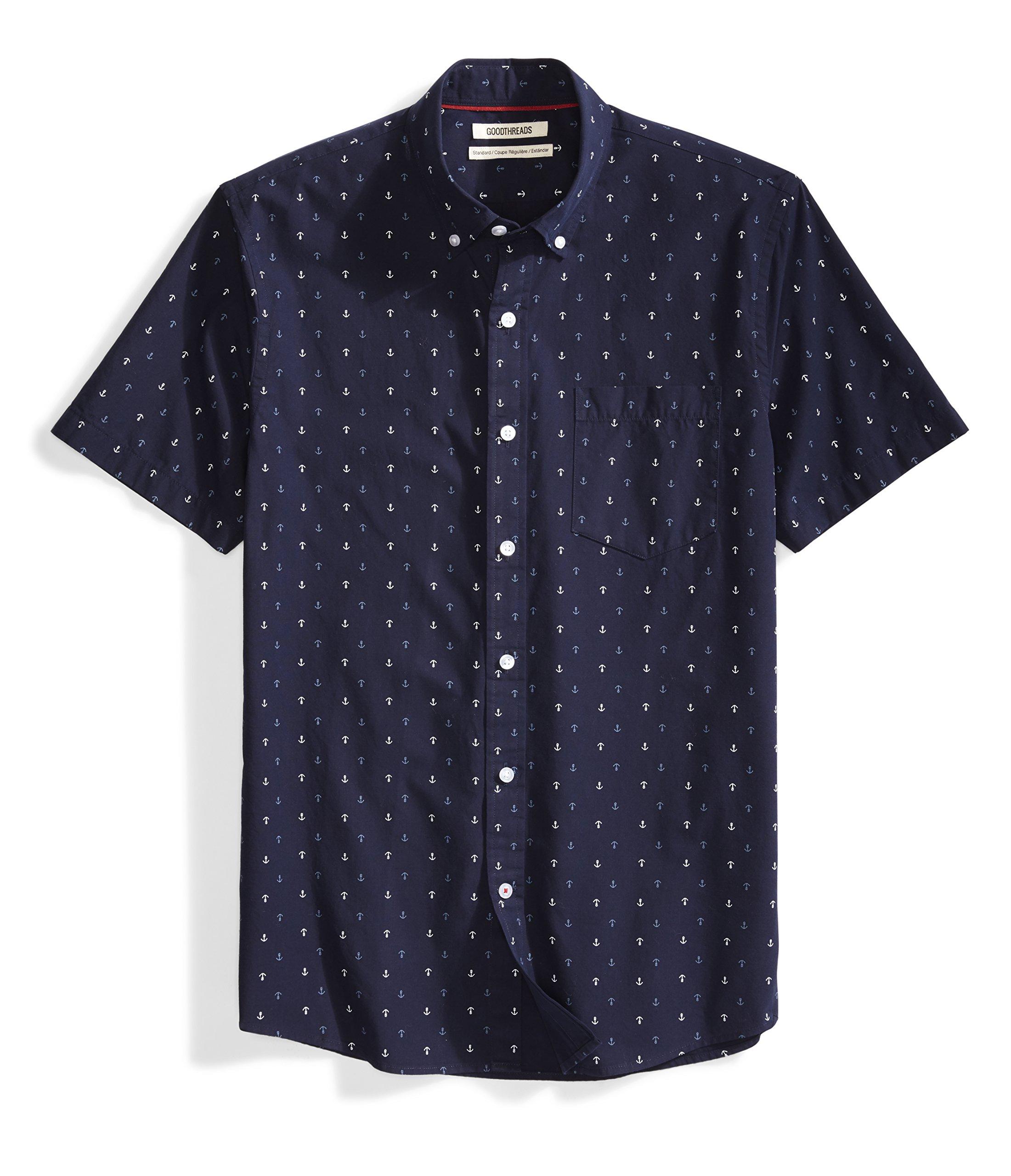 Goodthreads Men's Standard-Fit Short-Sleeve Printed Shirt, -navy ground anchor Printed, Large