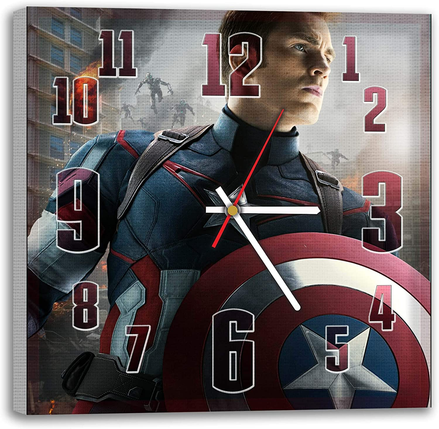 Wall Clock-Picture on Canvas Captain America