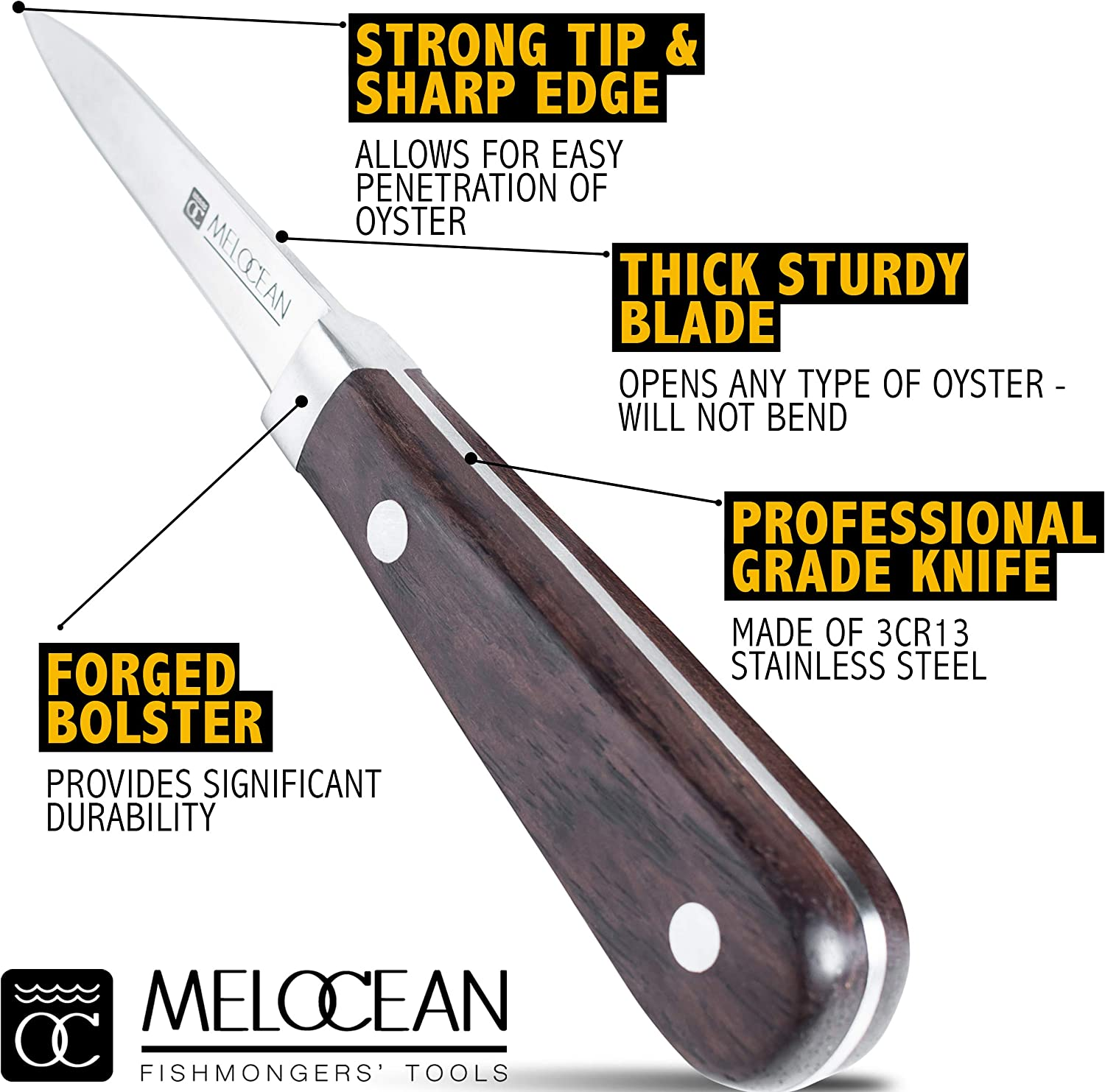 Anatomy of Melocean Oyster Knife