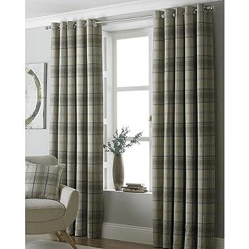 Paoletti Aviemore 90x72 Natural Tartan Tweed Eyelet Curtains