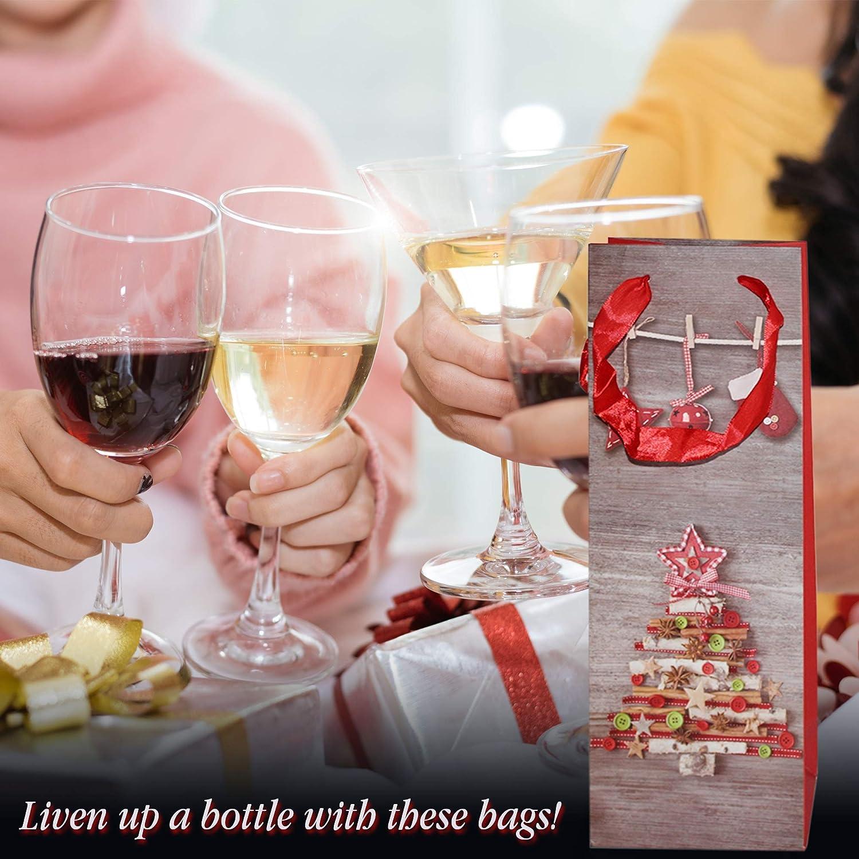 Parfait pour les Cadeaux de Noel /Œnologiques et Sac Cadeau bouteille 12 Motifs Assortis Lot de 12 Poches /à Vin /à Th/ème de No/ël