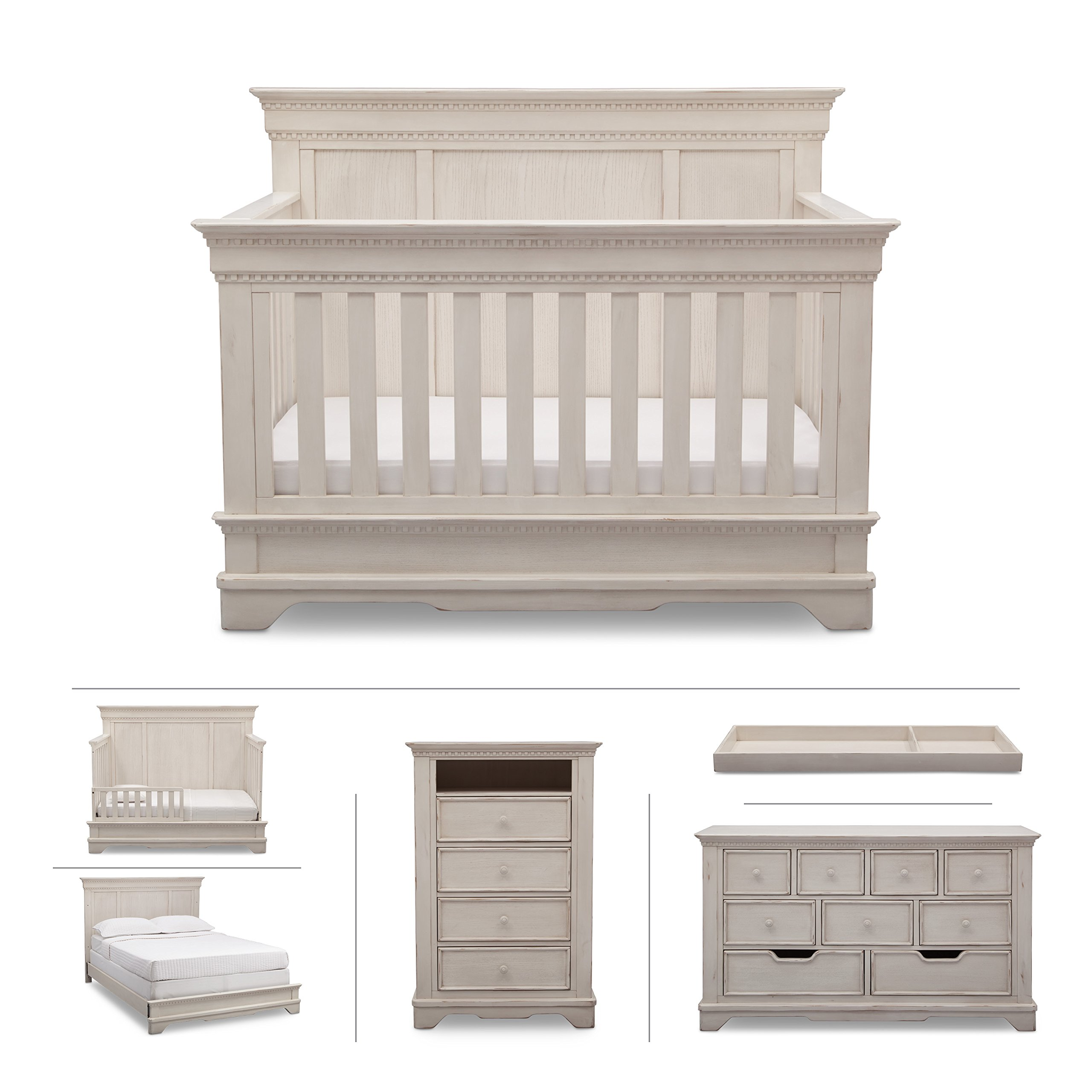 Baby Nursery Furniture Set in White Antique - Convertible Crib, Dresser, Chest, Changing Top, Toddler and Full Size Conversions - 6 Piece Simmons Tivoli Collection by Delta Children