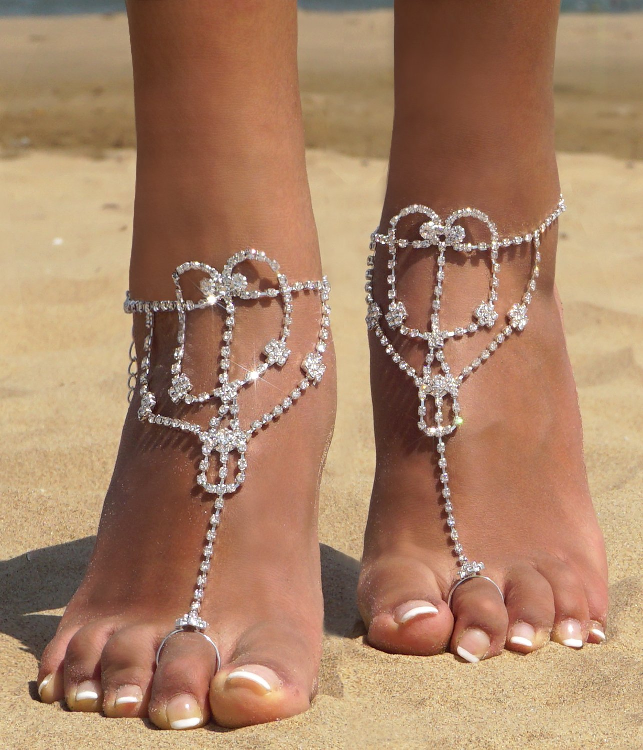 2 Pcs Barefoot Sandals with Rhinestone Toe Ring Beach Wedding Foot Jewelry Anklet Chain,Silver_Style 5 by Bellady (Image #2)