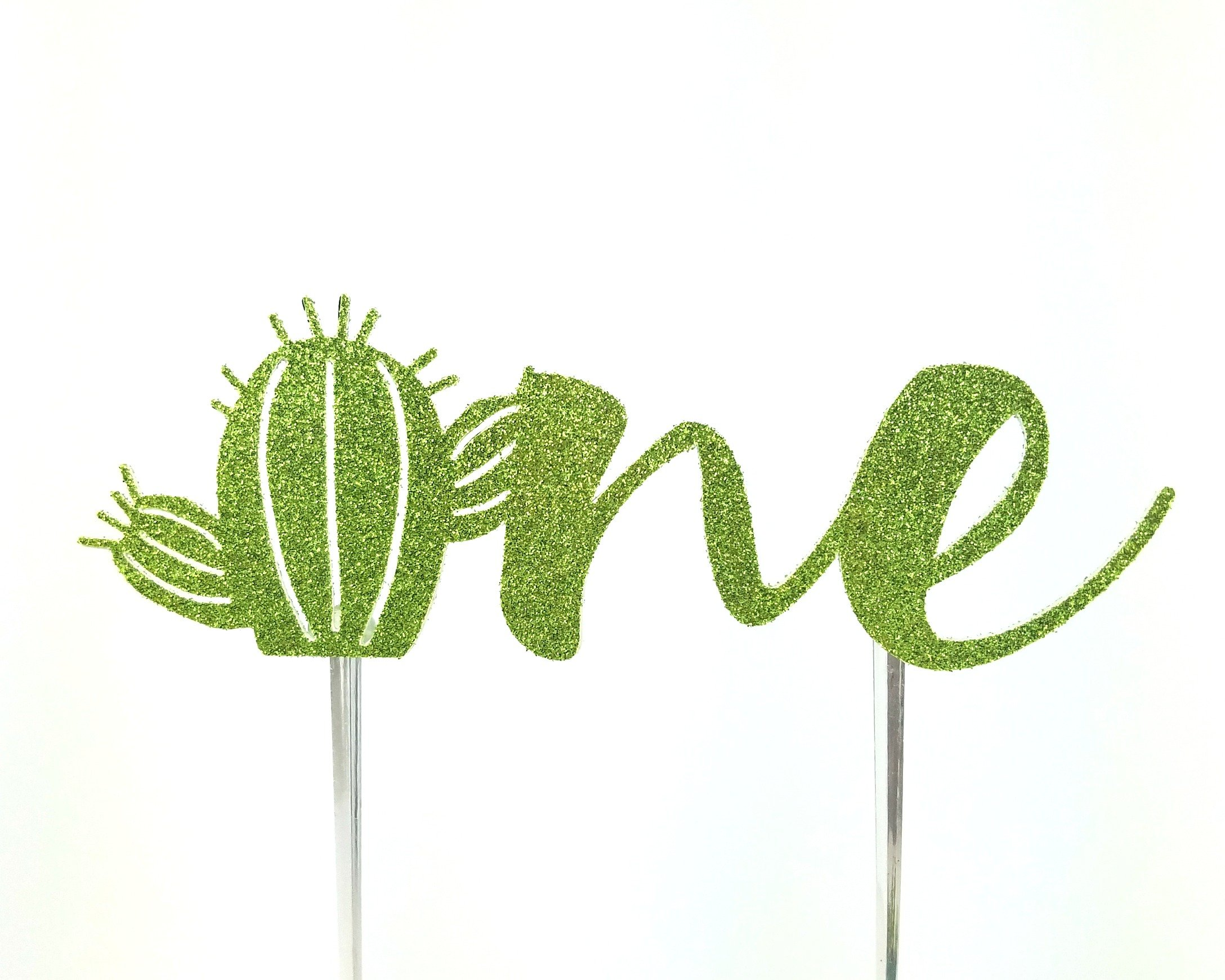 CMS Design Studio Handmade Succulant Birthday Cake Topper Decoration - one with cactus - Made in USA with Double Sided Gold Glitter Stock (One without flowers)