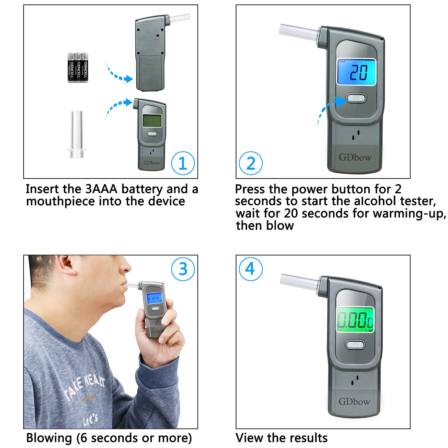 GDbow PortableBreathalyzer AlcoholTester Recording 32 Testing Results with 5 Mouthpieces for Personal Use -Grey by GDbow (Image #7)