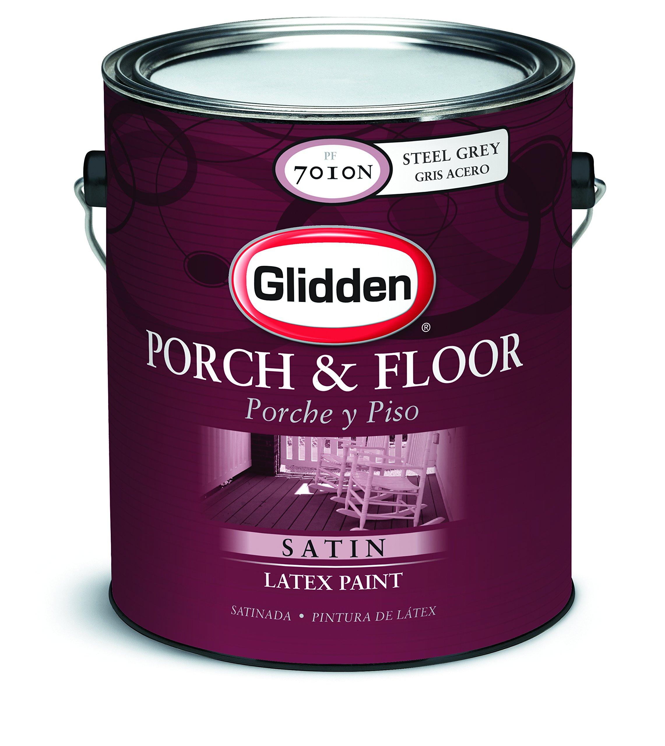 Glidden Latex Paint, Steel Gray, Satin, 1 gal, Interior Or Exterior, Porch & Floor Paint