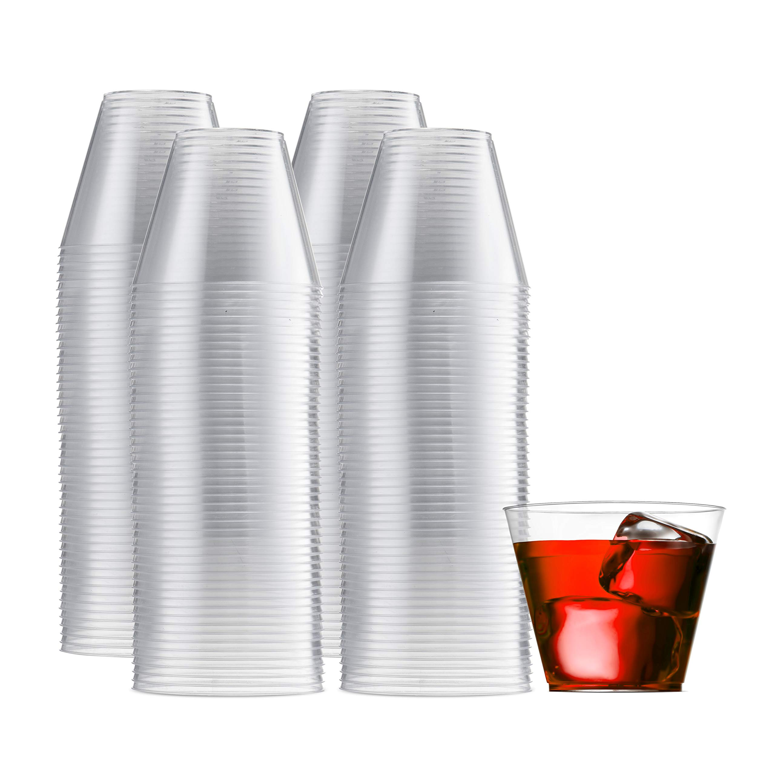 200 Clear Plastic Cups 9 Oz Old Fashioned Tumblers Fancy Disposable Wedding Party Cups Recyclable and BPA-Free