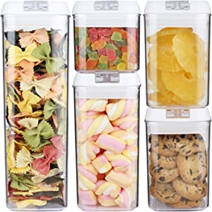 Airtight Food Storage Containers with lids for Kitchen - 5 pcs / 5.5 qt - cereal flour sugar coffee cookie are preserved DRY, FRESH & SAFE - Durable & BPA free plastic storage containers by CREAHOME