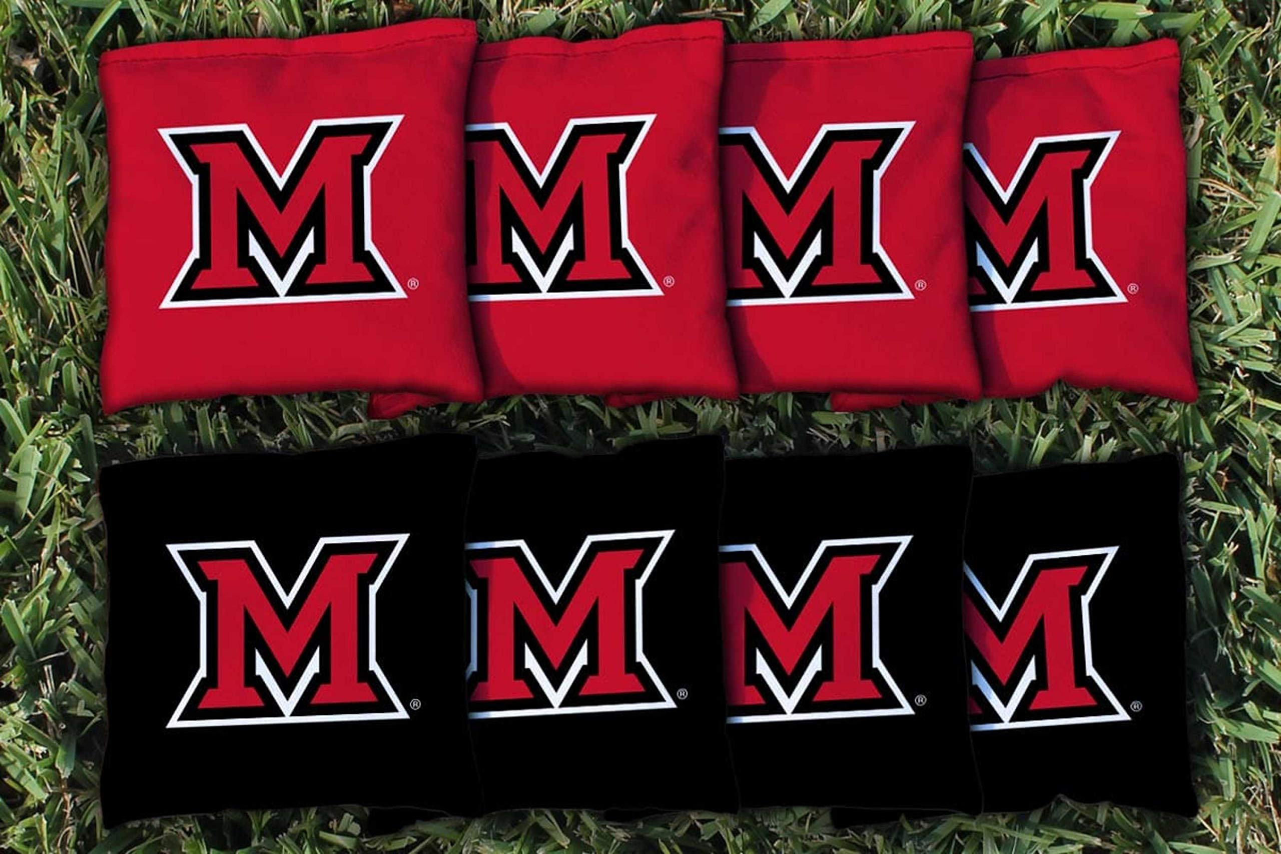 Victory Tailgate NCAA Regulation Cornhole Game Bag Set (8 Bags Included, Corn-Filled) - Miami University Redhawks