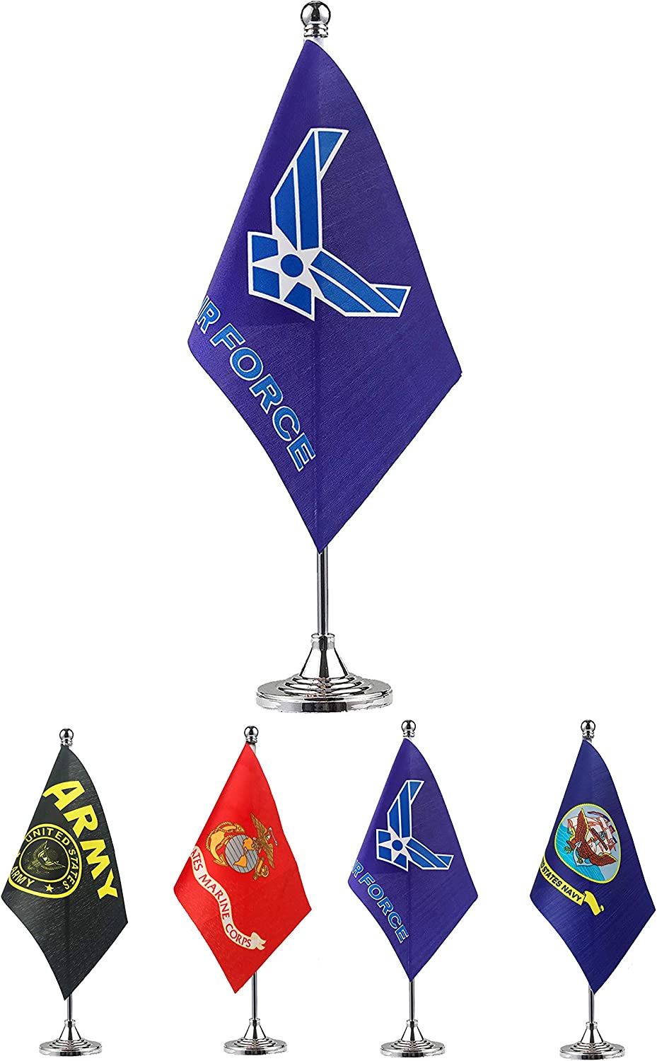 GentleGirl.USA US Air Force Wings Table Flag Stick Small Mini United States Military Polyester Flag Office Table Flag on Stand Base,for Army Party Events Celebration Decorations Supplies