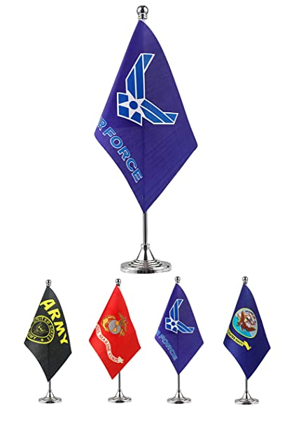 GentleGirl.USA US Air Force Wings Table Flag Stick Small Mini United States Military Polyester Flag Office Table Flag on Stand Base,for Army Party