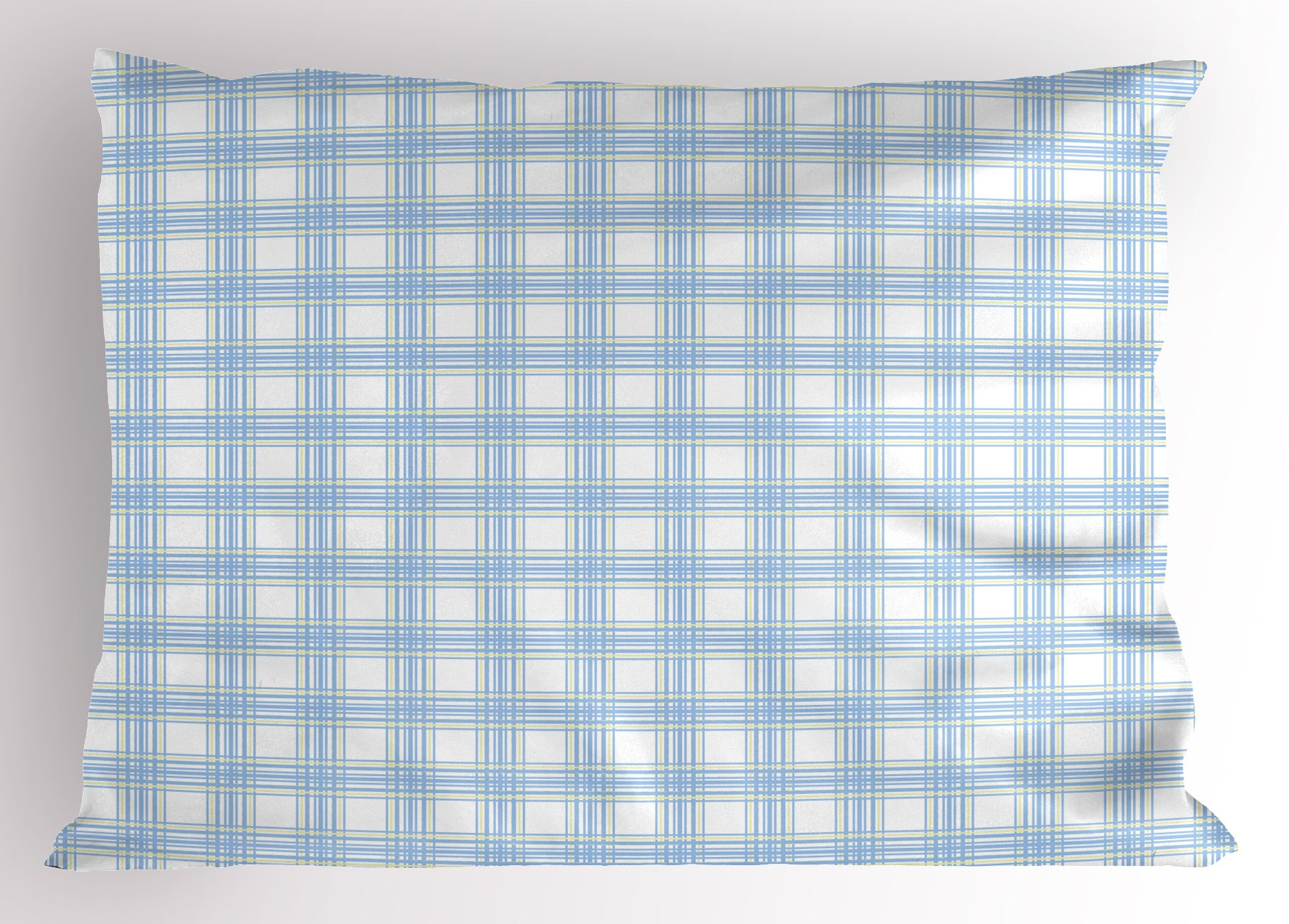 Lunarable Plaid Pillow Sham, Geometrical Striped Old Fashioned Pattern in Pastel Colors Country Style, Decorative Standard King Size Printed Pillowcase, 36 X 20 inches, Baby Blue Yellow White by Lunarable (Image #1)