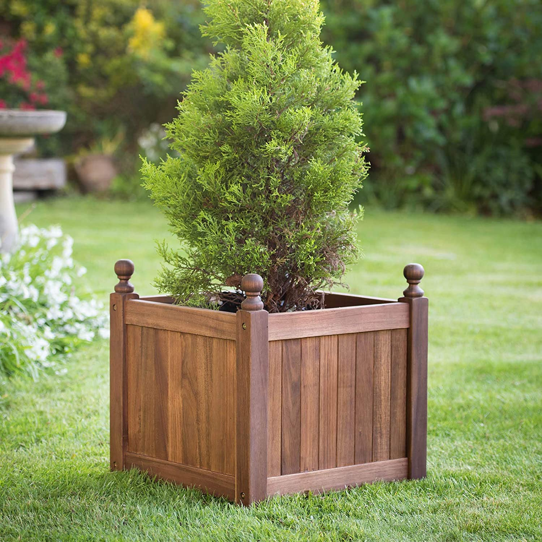 Plant Theatre Versailles - Macetero cuadrado (madera noble, alta calidad): Amazon.es: Jardín