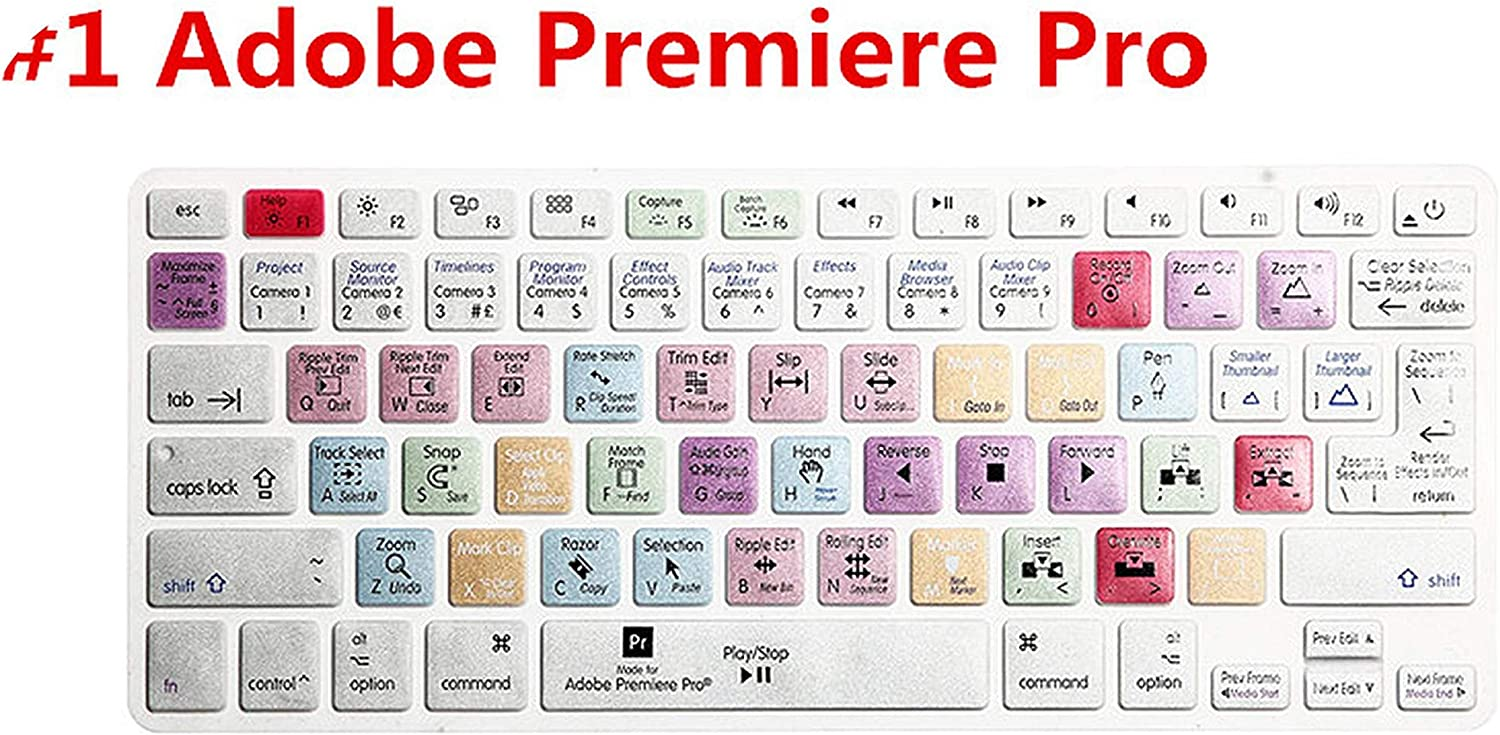 Us EU Universal Version Adobe Premiere Pro Functional Silicone Keyboard Cover for MacBook Air Pro Retina 13 15 17 Film Skin-Beige