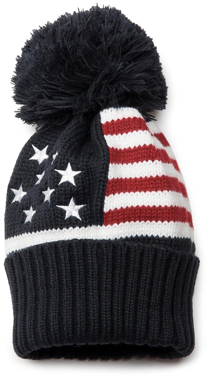 styleBREAKER hochwertige Strick Mütze mit Bommel im stylischen USA Design, Bommelmütze, Unisex 04024035