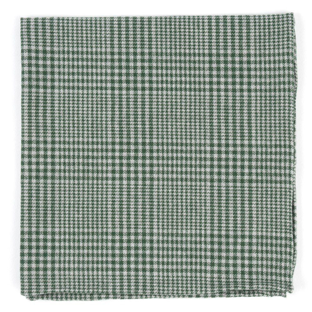 The Tie Bar 100/% Combed Cotton Greiz Glen Plaid Green Pocket Square