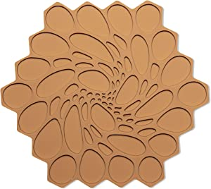 Modern Twist Trivet, 100% Food-Grade Silicone, Up to 675 Degree F Potholder, Single Hot Pad for Tabletop or Countertop, Waterproof, Amber