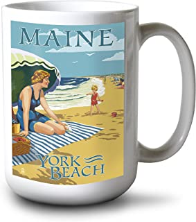 product image for Lantern Press York Beach, Maine - Beach Scene (15oz White Ceramic Mug)