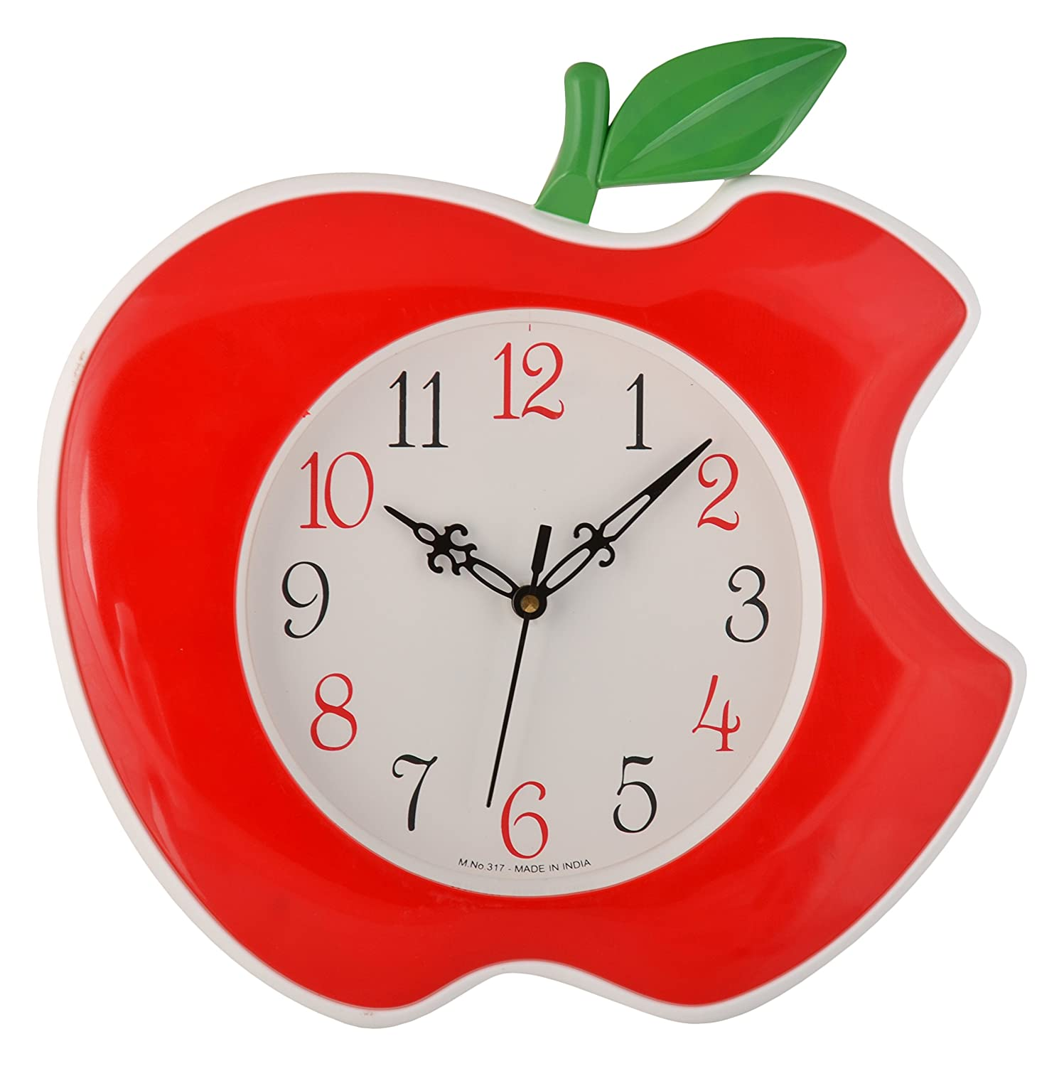 Buy Shopigator Apple Shape Wall Clock Clock Watch For Home Red
