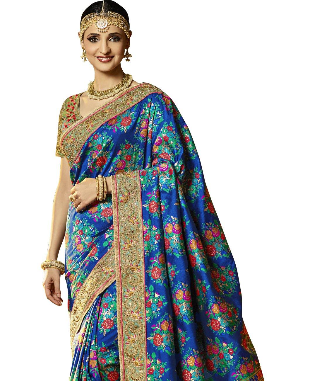 Maahir Garments Exclusive Indian Ethnicwear Banarasi Brocade Silk Royal Blue coloured Handloom Saree by Maahir Garments (Image #2)
