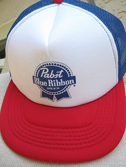 Image Unavailable. Image not available for. Color  Pabst Blue Ribbon PBR  Beer Mesh Trucker Hat e9a48340a51