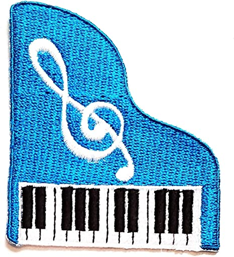 Nipitshop Patches Blue Musical Notation Music Note Cartoon Children Kid Patch Clothes Bag T-Shirt Jeans Biker Badge Applique Iron on Sew On Patch