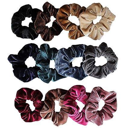Set di 12 Elastic Velvet per capelli Kurtzy - Colori assortiti - Marrone d9c4b104e59c