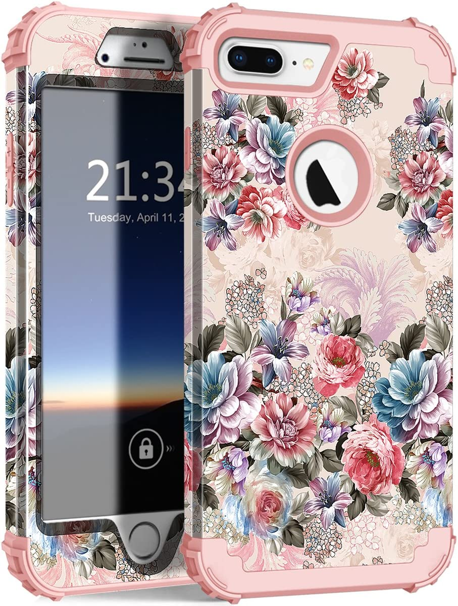 "Hocase iPhone 7 Plus Case, Drop Protection Shock Absorbing Silicone Bumper+Hard Shell Hybrid Dual Layer Full-Body Protective Case for Apple iPhone 7 Plus 5.5"" - Peony Flowers/Rose Gold Pink"