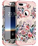 iPhone 7Plus 手机壳 hocase 防摔减震硅胶缓冲 + HARD Shell 混合双层全身防护保护套适用于苹果 iPhone 7Plus 14cm Peony Flowers/Rose Gold Pink