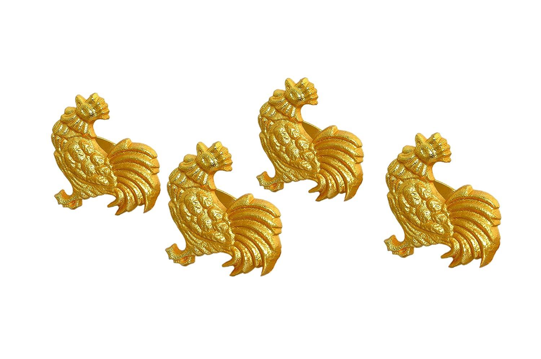 ハンドメイド ロースター メタル ナプキンリング 結婚式 パーティー 装飾 ダイニングテーブル 行事 日常 家族 集まり 4個セット ゴールド ダイニングテーブルの装飾を美しく強調   B07L8HMVZ5