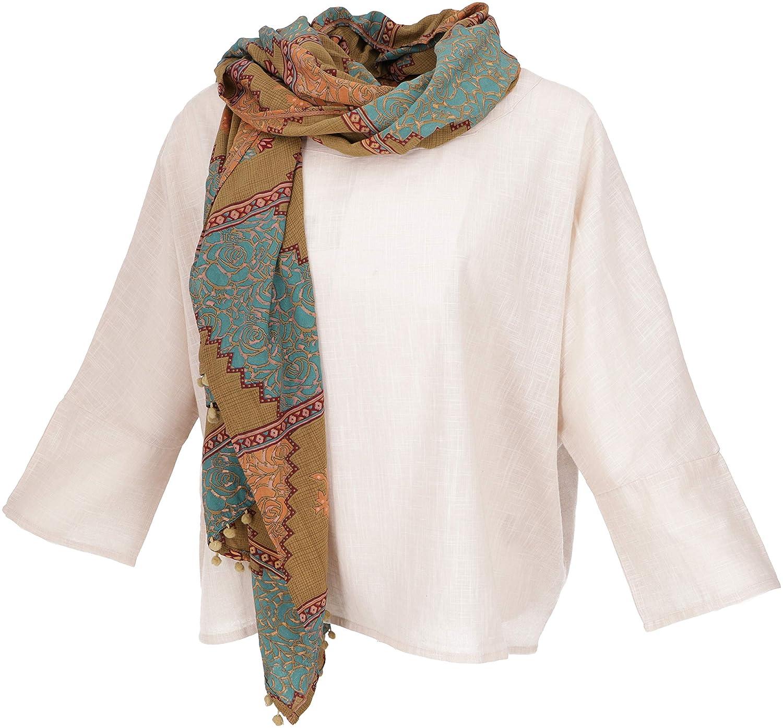Guru-Shop bred boho blusstopp med 3/4 ärmar, maxiblus, kvinnor, svart, bomull, storlek: 42, blusar och tunikas alternativ kläder Ljus beige