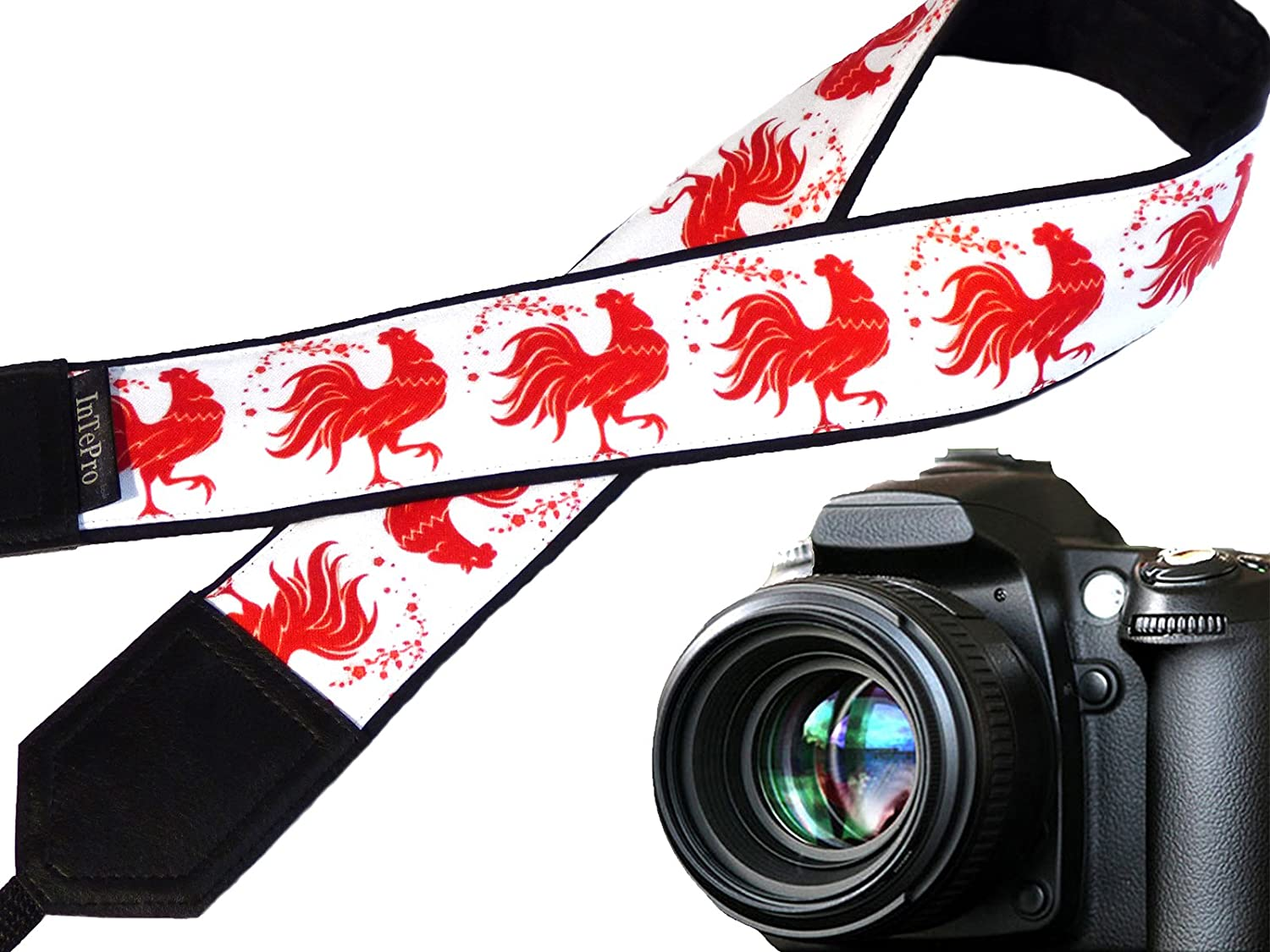 Code 00333 Red Rooster Camera Strap Red and White Camera Accessory Stylized Cock Fire Rooster Symbol 2017 Padded Camera Strap New Year Gift