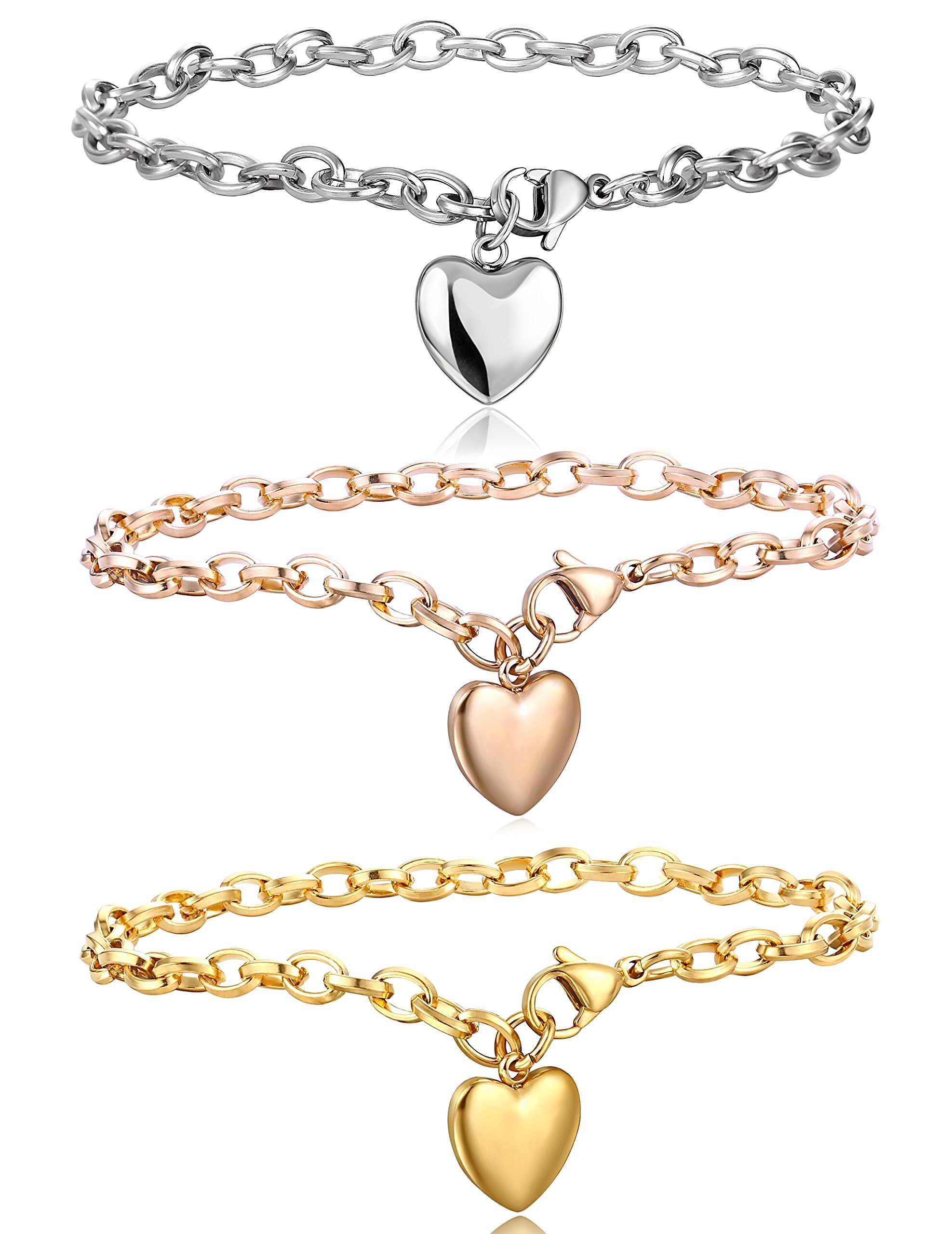 Jstyle Jewelry Women's Stainless Steel Chain Bracelet with Heart Charm,7.48'' 3 Pcs