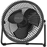Battery Operated Desk Fan with Timer, 4 Speeds with Upgraded Strong Airflow, 9 Inch Rechargeable Table Fan for Home Camping H