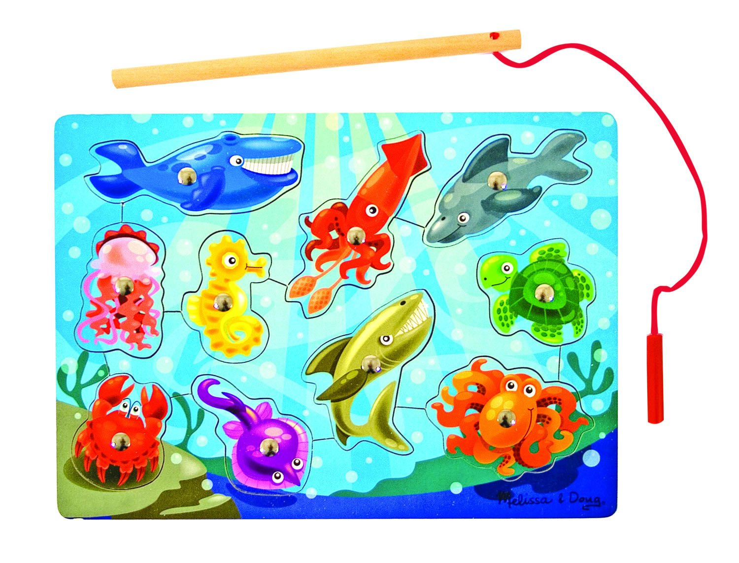 Melissa Doug Magnetic Wooden Fishing Game and Puzzle With Wooden Ocean Animal Magnets