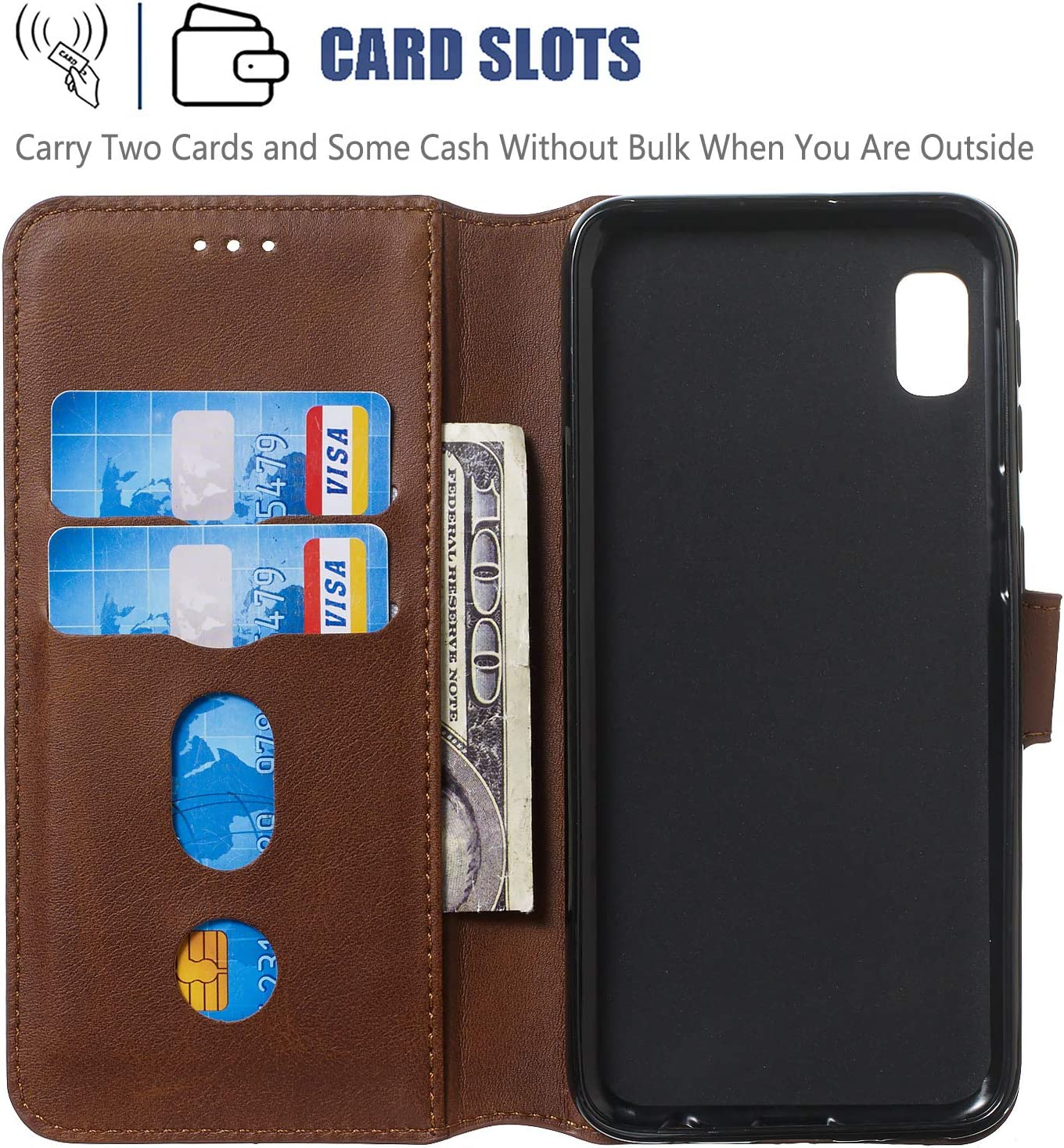 LOYYO080093 Brown Lomogo Leather Wallet Case for Galaxy A10e with Stand Feature Card Holder Magnetic Closure Shockproof Flip Case Cover for Samsung Galaxy A10e