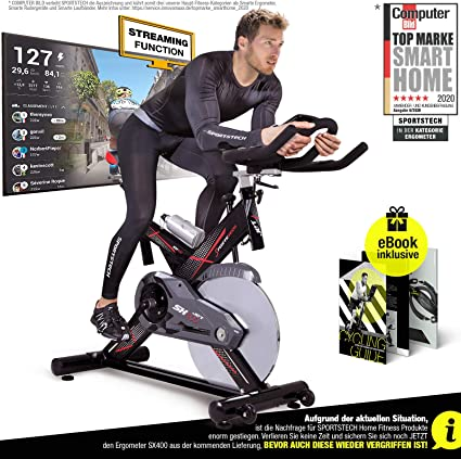 Sportstech Profi Indoor Cycle SX400 - Bicicleta estática con control mediante aplicación de smartphone y Google Street