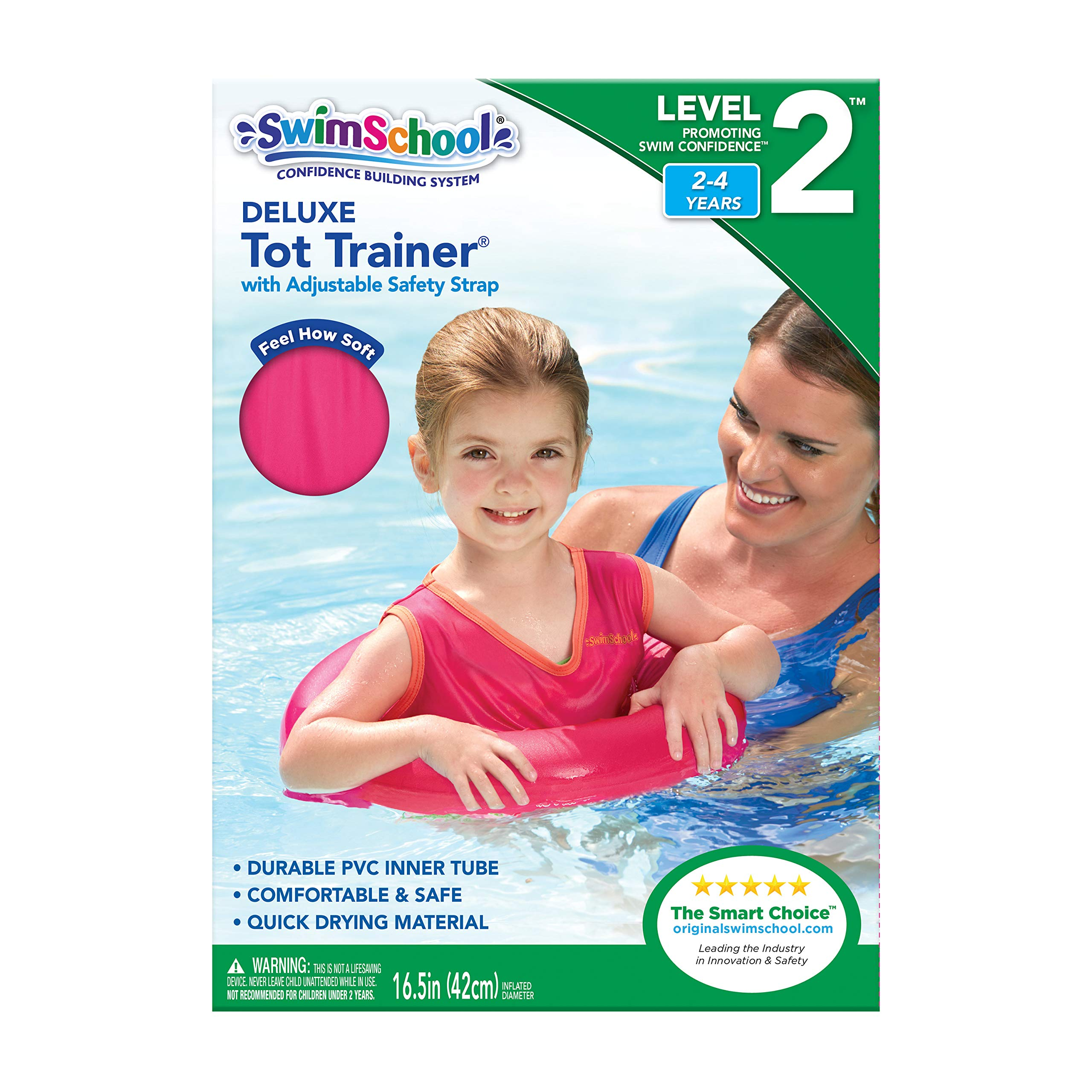 SwimSchool Deluxe TOT Swim Trainer Vest, Heavy Duty, Inflatable Tube with Adjustable Safety Strap, 2-4 Years, Raspberry/Pink by SwimSchool (Image #3)