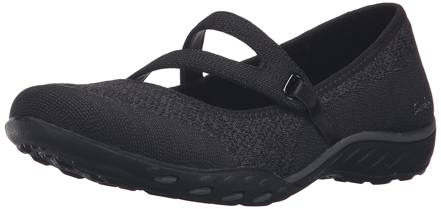 Skechers Sport Women's Breathe Easy Lucky Lady Mary Jane Flat Black Knit Mesh Charcoal Trim 10 M US