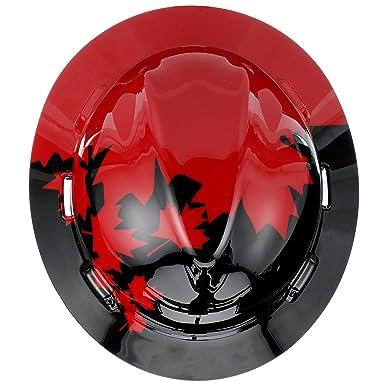 MSA 10082235 V-Gard Hard Hat Front Brim with Ratchet Suspension, Standard, Black w/ Red Maple Leaf: Amazon.com: Industrial & Scientific