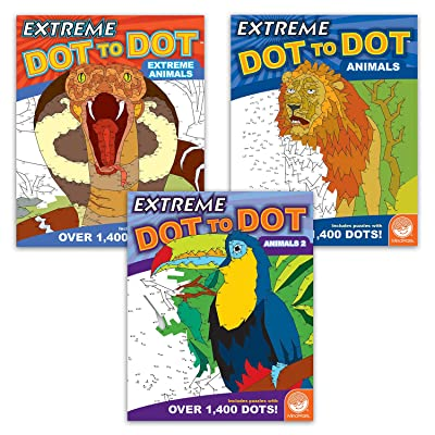 MindWare Extreme Dot to Dot Coloring Set of 3: Wild Animals: Toys & Games