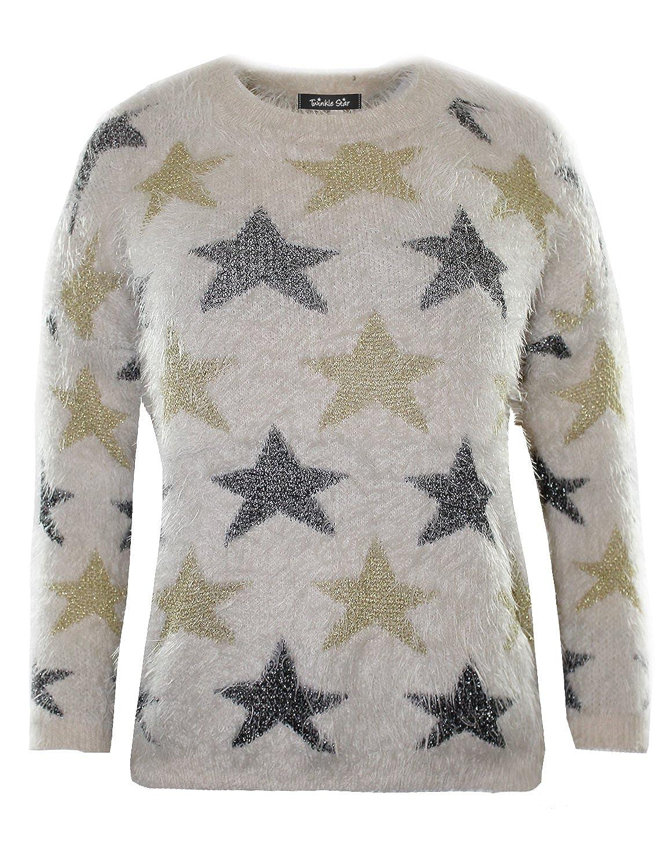 Twinkle Star Women's Soft Fuzzy Star Knit Pullover Sweater Top