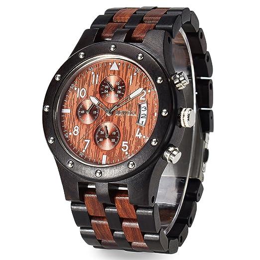 cbd4fa417d82 Bewell Reloj de madera luminoso Multifunción y Fecha de visualización  Relojes de pulsera de moda Cronómetro