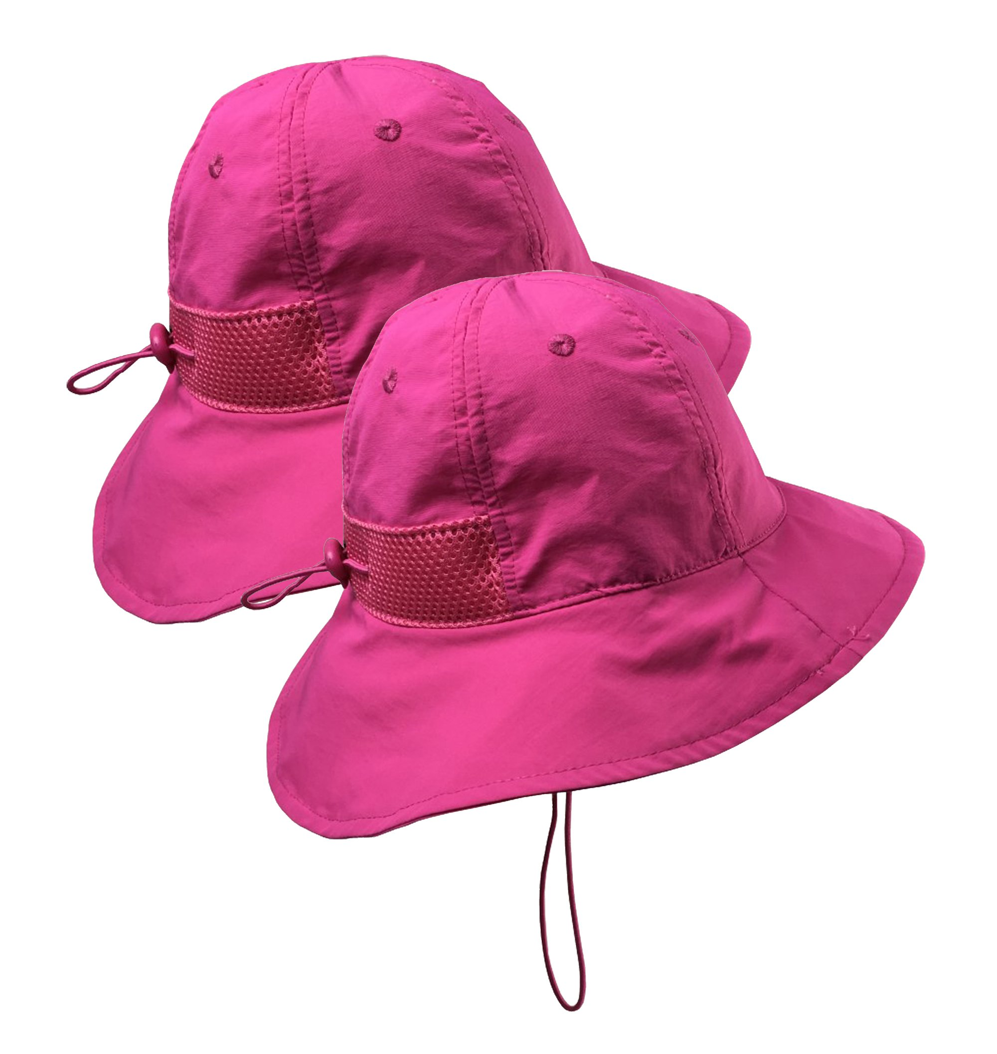 af5636ae Galleon - N'Ice Caps Kids SPF 50+ UV Protection Breathable Adjustable Sun  Hat - 2 Hat Pack (Neon Pink - 2 Pack, 56cm (22