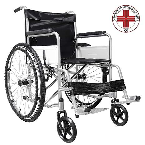 Eglemtek Sedia A Rotelle Pieghevole Leggera Ad Autospinta Carrozzina Per Disabili Ed Anziani Con Braccioli E Poggiapiedi Estraibili Cintura Di