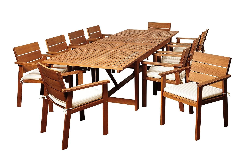 Brampton Extendable Eucalyptus 11 Piece Patio Dining Set, Brown