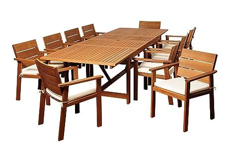 Amazonia Colony 11 Piece Eucalyptus Extendable Rectangular Dining Set